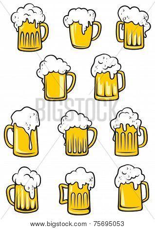 Vector tankards of beer