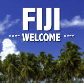 Fiji, Welcome written on a beautiful beach background poster