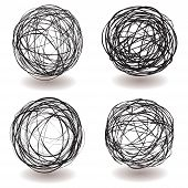 Set of scribble ball icons with pen drawing and drop shadow poster