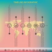 Timeline infographic with unfocused background and icons set for business design, reports, step presentation, progress, workflow layout. Line style eps 10 poster