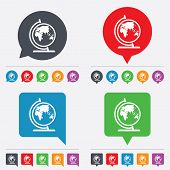 Globe sign icon. World map geography symbol. Globe on stand for studying. Speech bubbles information icons. 24 colored buttons. Vector poster