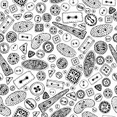 Vintage cartoon sewing buttons seamless pattern for your web design. Vector black and white  background. Oval, round, square, rectangular and triangular buttons. poster