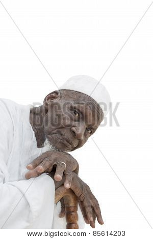 Man wearing a white garment, eighty years old