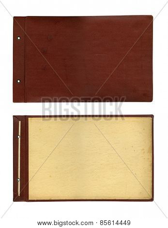 Vintage clipboard and blank paper isolated on white. Clipping path.