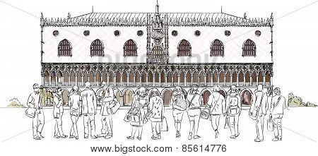 People and tourists in front of Doges palace in Venice, Sketch collection
