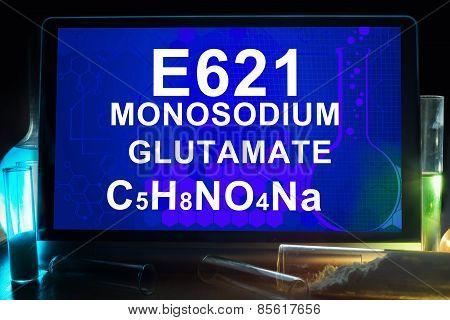 Tablet with chemical formula of  e621 monosodium glutamate  .