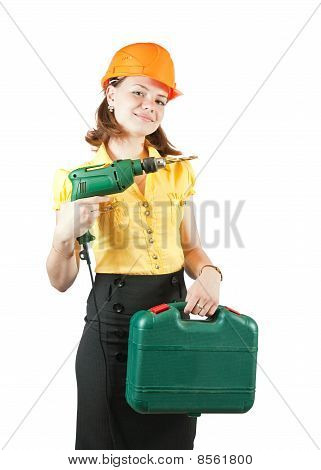 Girl With Tool Box  And Drill