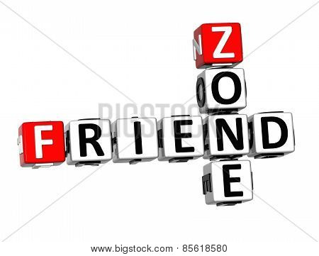 3D Crossword Friend Zone On White Background
