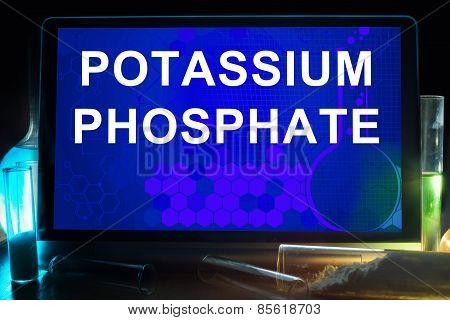 Tablet with words potassium phosphate.