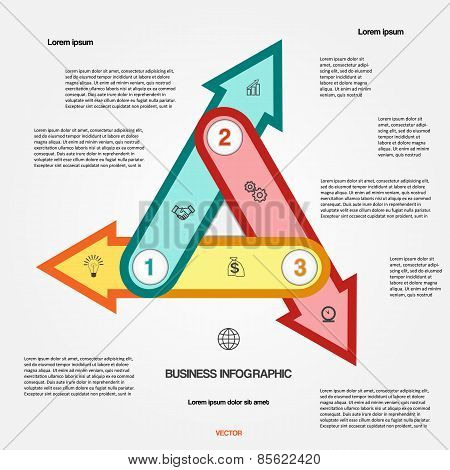 Template With 3 Options Multi-coloured Arrows For Infographic