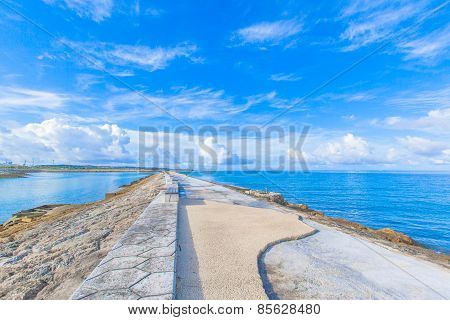 Blue sea and the blue sky in Okinawa