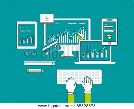 Concept of consulting services, project management, time management, marketing research, strategic planning. All elements are around icon of businessman poster