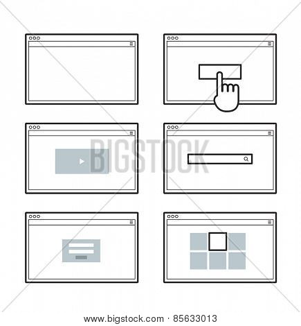 Opened browser window template. Past your content into it. web site page templates