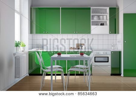 Green kitchenette in a small kitchen with table and chairs (3D Rendering)