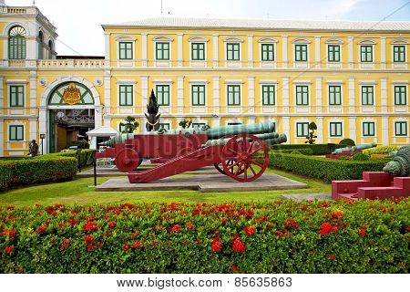 cannon bangkok in thailand architecture garden and temple steet poster