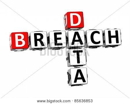 3D Crossword Breach Data On White Background
