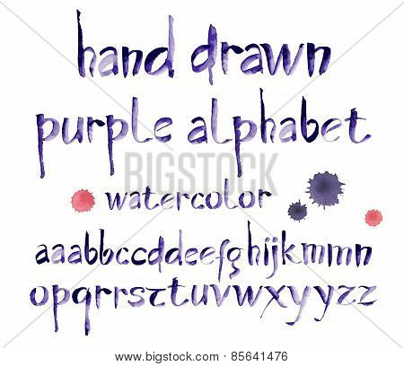 Watercolor hand written purple alphabet. Vector watercolor.