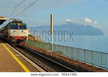 Train At The Station Near The Sea