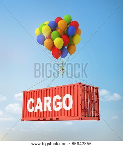 The Concept Of Transportation. Balloons Are A Freight Container.