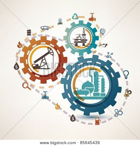 Oil And Gas Industry Infographics, Extraction, Processing And Trasportation,