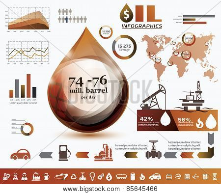 Oil And Gas Industry Infographics, Extraction, Processing And Trasportation
