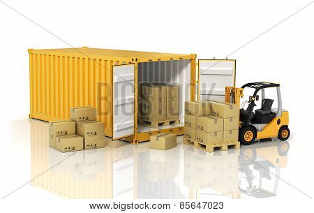Open container with forklift stacker loader holding cardboard boxes. Transportation concept. poster