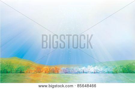 Vector four seasons landscape.
