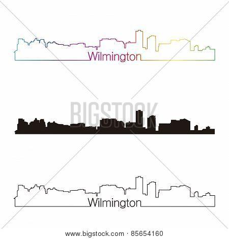 Wilmington Skyline Linear Style With Rainbow