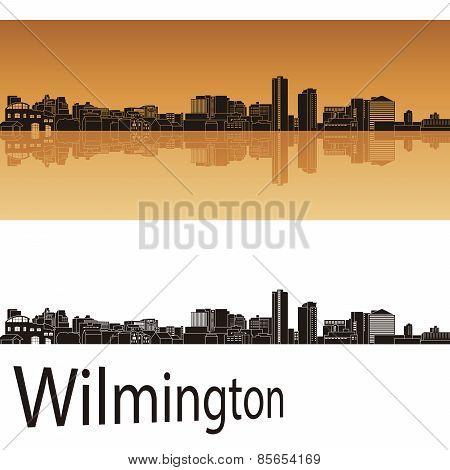 Wilmington Skyline In Orange Background
