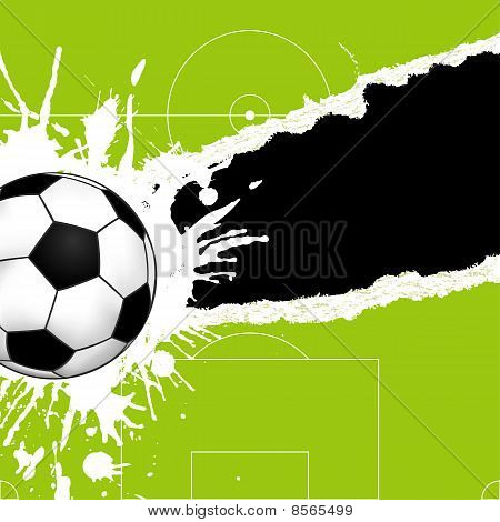 Soccer ball on green torn paper with hole element for design vector illustration poster