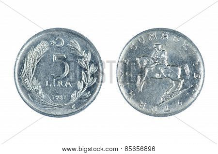 Turkey Coin Isolated
