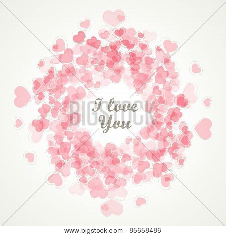Valentines Day - Vector Retro Card - Love You