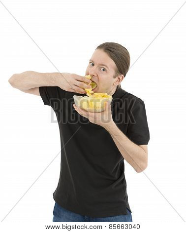 Man Eating Unhealthy Chips