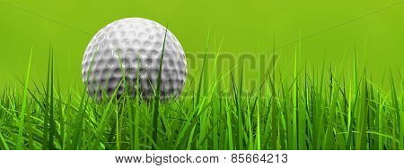 Green fresh natural 3d conceptual grass field on blur background with a white golf ball at horizon banner