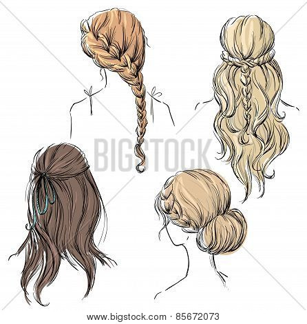 set of different hairstyles. Hand drawn
