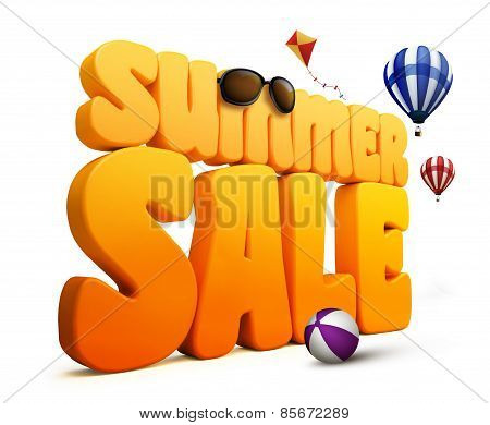 3D Dimensional Summer Sale Title Words in White Background