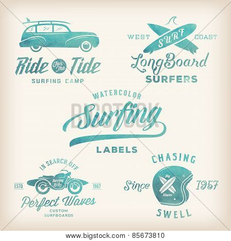 Vector Watercolor Retro Style Surfing Labels, Logos or T-shirt Graphic Design Featuring Surfboards,