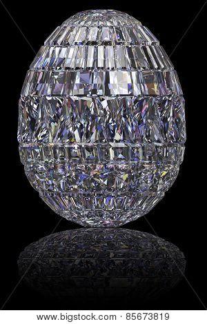 Easter Egg Composed Of Gemstones On Glossy Black Background