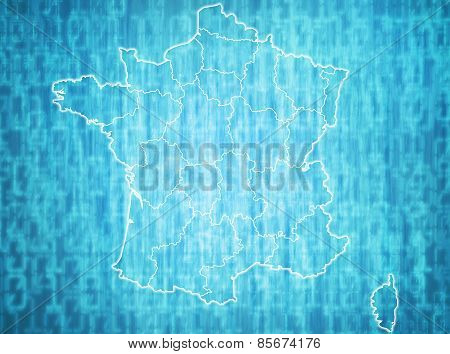 map of france with administrative divisions over digital background poster