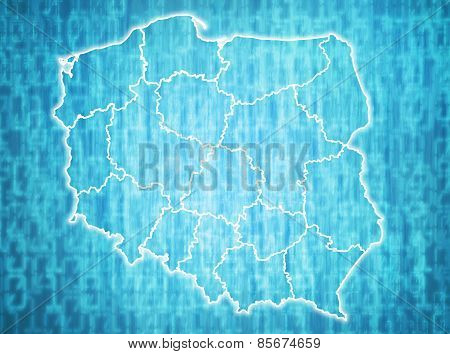 map of poland with administrative divisions over digital background poster
