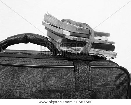 The suitcase with books