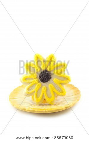 Yellow Flower Sugar Cookie On White Vertical Background