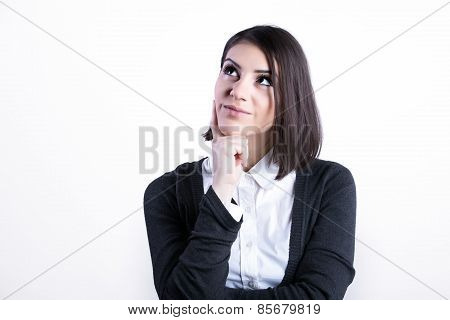 hinking business woman expressing anger,confusion and distrust