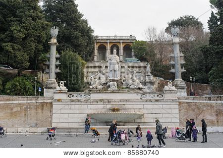 Rome, Italy - January 27, 2010: Fontana Della Dea Di Roma