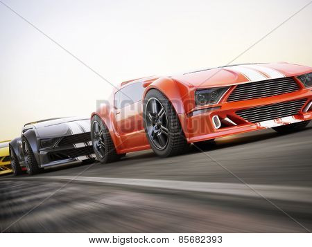 The race , Exotic sports cars racing with motion blur . Generic custom photo realistic 3d rendering.