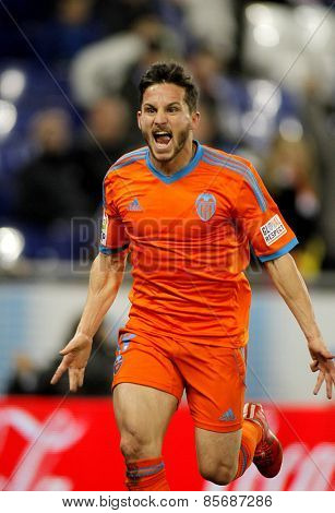 BARCELONA - FEB, 8: Pablo Piatti of Valencia CF during spanish League match against RCD Espanyol at the Estadi Cornella on February 8, 2015 in Barcelona, Spain