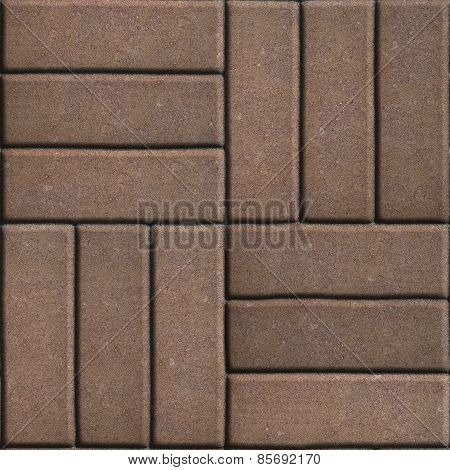 Brown Paving Slabs of Rectangles Laid Out on Three Pieces Perpendicular to Each Other.