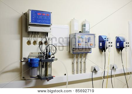 Automatic station water disinfection in swimming pool poster