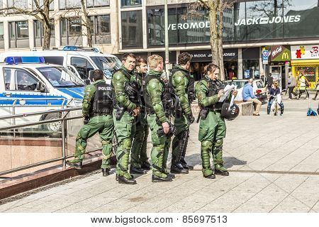 Police Pays Attention For People Demonstrate Against Ezb And Capitalism In Frankfurt