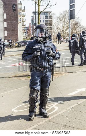 Police Pays Attention For People Demonstrating Against Ezb And Capitalism In Frankfurt